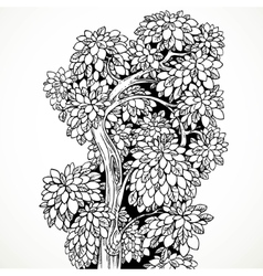 Graphically drawing black ink tree with graceful vector image