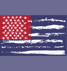 Grunge brush usa flag red and blue vector