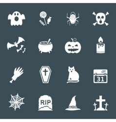 Halloween white icons set vector