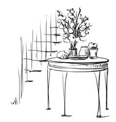 hand drawn dinner tea wares romantic breakfast vector image