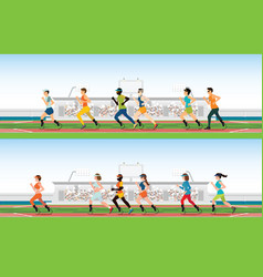 handicapped sprinter with prosthetic leg running vector image