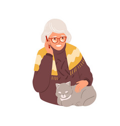 happy old woman talking on mobile phone granny vector image