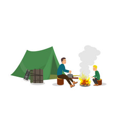 Hiking with stop campsite for children and adults vector