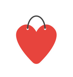 icon concept heart-shaped shopping bag vector image