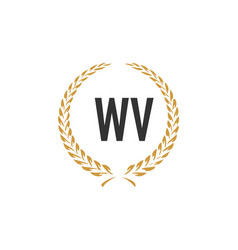 Initial letter wv wheat luxurious minimalist vector