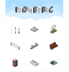 Isometric architecture set of sitting turning vector