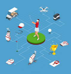 isometric set golf elements equipment vector image
