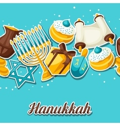 Jewish Hanukkah celebration seamless pattern with vector