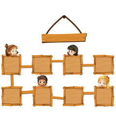 Kids and wooden boards vector