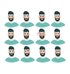 large set male emoticons with bearded man vector image