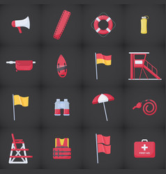 Lifeguard equipment kit flat icons set vector