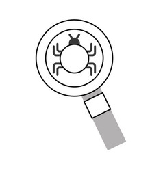 magnifying glass with bug infection virus icon vector image