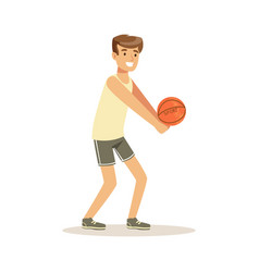 Male athlete character playing volleyball active vector
