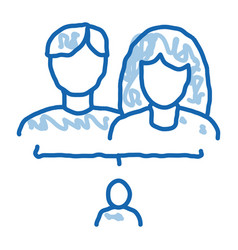 Man and woman with badoodle icon hand drawn vector