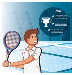 man playing tennis character vector image