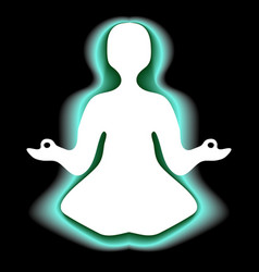 Meditating with green aura vector
