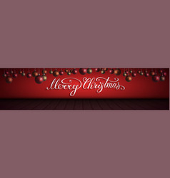 Merry christmas lettering with redorangegold vector