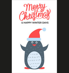 merry christmas penguin on vector image