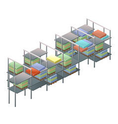 Metal racks with boxes with parcels isolated vector