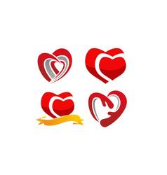 modern love template set vector image