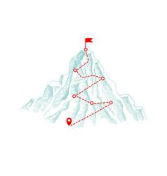 mountain climbing route outdoor business concept vector image