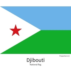 National flag of Djibouti with correct proportions vector