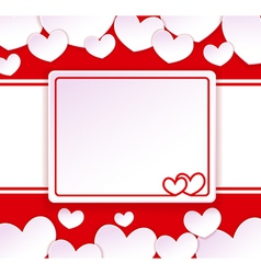 Paper banner with two hearts vector image