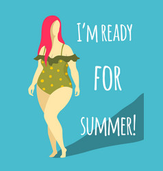 plump woman in beach swimsuit flat isolated vector image