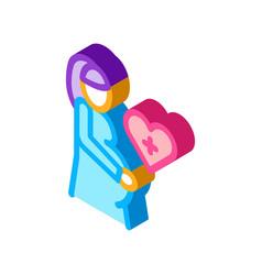 Pregnant woman isometric icon vector
