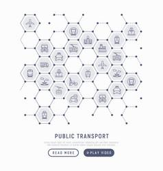 Public transport concept in honeycombs vector
