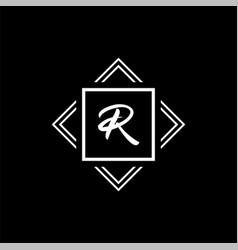 r monogram logo white geometric modern vector image