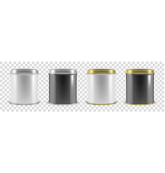 Realistic 3d white and black metal tin can vector