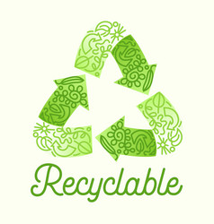 recyclable package concept recycle symbol three vector image