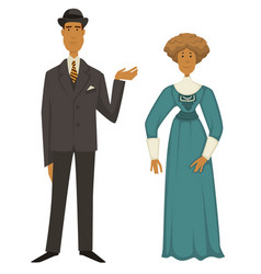 Retro fashion 1910s man in suit and hat woman vector