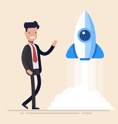 rocket launch ship concept start of business vector image