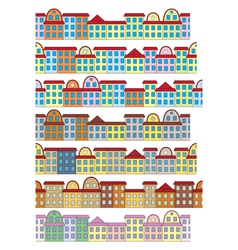 rows of color buildings vector image