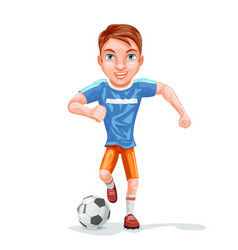 running football player soccer ball character icon vector image