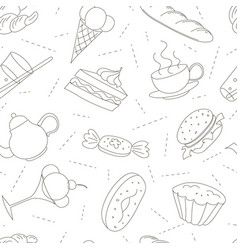 seamless pattern of outline doodle icons for tea vector image