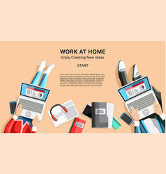 Self-employed persons in home office workspace vector