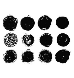 set isolated black ink round brush strokes vector image