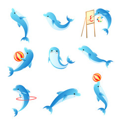 set of cartoon small blue dolphins with different vector image