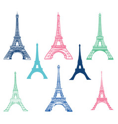 Set of different eiffel tower landmarks vector