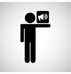 Silhouette man speaker icon social network vector