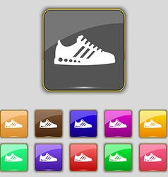 Sneakers icon sign Set with eleven colored buttons vector image
