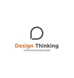 Think pencil logo design vector