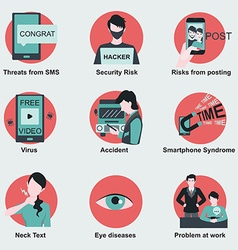 Threats and risk from smartphone vector image
