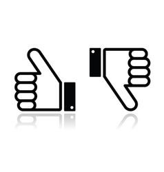 Thumb up and down black icon - social media vector image