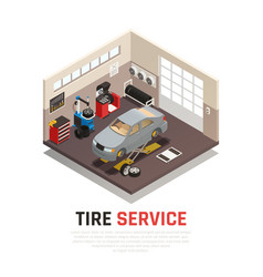 Tire service isometric composition vector