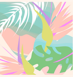 Tropical collage pattern banner in hawaiian style vector