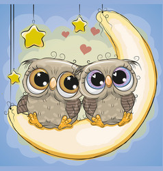 two cute owls is sitting on moon vector image